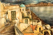 Orthodox Drawings Prints - Oia Santorini Greece - Watercolor Print by Peter Art Prints Posters Gallery