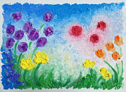 Colorful Reliefs Prints - Oil Bar Flowers Print by Ruth Collis