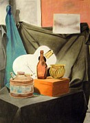 Drapery Pastels Prints - Oil Can and Other Objects Print by Howard Bosler