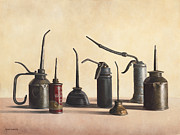 Machinery Painting Prints - Oil Cans Print by Kathy Montgomery