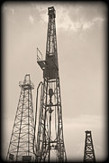Production Posters - Oil Derrick V Poster by Ricky Barnard