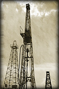 Metal Art Print Framed Prints - Oil Derrick VI Framed Print by Ricky Barnard