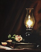 Kim Selig Prints - Oil Lamp Still Life Print by Kim Selig
