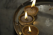 Oil Lamp Prints - Oil lamps kept in a plate as part of Diwali celebrations Print by Ashish Agarwal