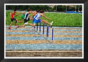 Sports Digital Art Metal Prints - Oil Painting Of Obstacle Race Metal Print by John Vito Figorito