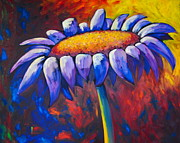 Burst Painting Posters - Oil Painting Of Single Daisy Poster by Samantha Black