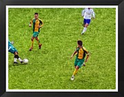 Sports Digital Art Metal Prints - Oil Painting Of Soccer Players Metal Print by John Vito Figorito