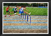 Sports Digital Art Metal Prints - Oil Painting Puzzle Design Of Obstacle Race Metal Print by John Vito Figorito