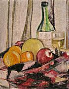 Canvas Wine Prints Pastels Posters - Oil Pastel Still Life Poster by Beverly Trivane