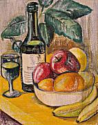 Canvas Wine Prints Pastels Posters - Oil Pastel with Wine and fruit Poster by Beverly Trivane