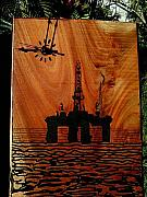 Wood Engraving Reliefs - Oil Platform by Calixto Gonzalez