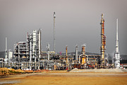 Industrial Photos - Oil Refinery by Carlos Caetano