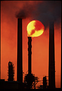 Chimneys Posters - Oil Refinery Poster by David Nunuk