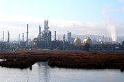 Oil Refinery Photo Posters - Oil Refinery Industrial Plant In Martinez California . 7D10363 Poster by Wingsdomain Art and Photography