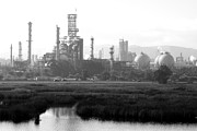 Black And White Photographs Photos - Oil Refinery Industrial Plant In Martinez California . 7D10364 . black and white by Wingsdomain Art and Photography