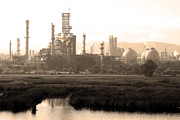 Sepia Photos Posters - Oil Refinery Industrial Plant In Martinez California . 7D10364 . sepia Poster by Wingsdomain Art and Photography