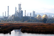 Oil Refinery Photo Posters - Oil Refinery Industrial Plant In Martinez California . 7D10364 Poster by Wingsdomain Art and Photography