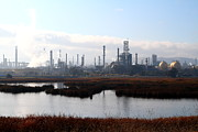 Oil Refinery Photo Posters - Oil Refinery Industrial Plant In Martinez California . 7D10365 Poster by Wingsdomain Art and Photography