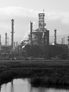 Black And White Photographs Photos - Oil Refinery Industrial Plant In Martinez California . 7D10368 . Black and White by Wingsdomain Art and Photography