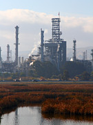 Oil Refinery Photo Posters - Oil Refinery Industrial Plant In Martinez California . 7D10368 Poster by Wingsdomain Art and Photography