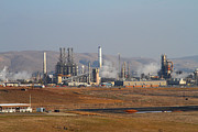 Oil Refinery Photo Posters - Oil Refinery Industrial Plant In Martinez California . 7D10390 Poster by Wingsdomain Art and Photography
