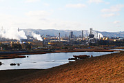 Oil Refinery Photo Posters - Oil Refinery Industrial Plant In Martinez California . 7D10393 Poster by Wingsdomain Art and Photography