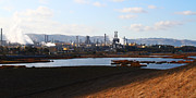 Oil Refinery Photo Posters - Oil Refinery Industrial Plant In Martinez California . 7D10398 Poster by Wingsdomain Art and Photography