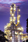 Gas Tower Prints - Oil Refinery Plant At Twilight Morning  Print by Anek Suwannaphoom