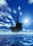Sea Platform Posters - Oil Rig, Artwork Poster by Victor Habbick Visions