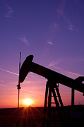 Oil Field Prints - Oil Rig At Sunset Print by Connie Cooper-Edwards