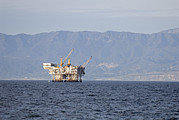 Oil Rigs Prints - Oil Rig In The Santa Barbara Channel Print by Rich Reid