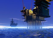 Sea Platform Prints - Oil Rigs, Artwork Print by Victor Habbick Visions
