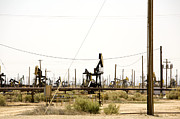 Bleak Desert Framed Prints - Oil Rigs, Lebec, Mojave Desert, California Framed Print by Paul Edmondson