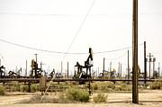 Oil Rigs, Lebec, Mojave Desert, California Print by Paul Edmondson