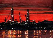 Night Scene Painting Prints - Oil Rigs Night Construction Portland Harbor Print by Dominic White