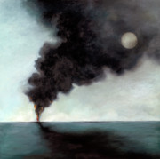 Smoke Painting Originals - Oil Spill 3 by Katherine DuBose Fuerst
