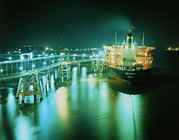 Terminal Photos - Oil Tanker In Port At Night. by David Parker