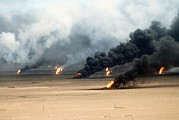 Crimes Prints - Oil Well Fires Rage Outside Kuwait City Print by Everett