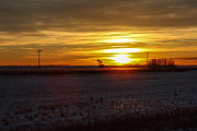 North Dakota Metal Prints - Oil Well Sunset Metal Print by Christy Patino