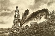 American Oil Wells Posters - Oil Well With A Side Flowing Gusher Poster by Everett