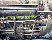 Trains Painting Prints - Oiling the 28 Print by Gary Symington
