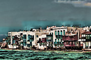 Scenery Pictures Posters - Oill Paint Effect Mykonos Greece Poster by Tom Prendergast