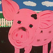 Piglet Paintings - Oink by Eva  Dunham