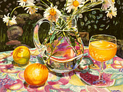 Multicolored Daisy Prints - Oj and Orange Juice Print by Gina Blickenstaff