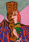Island Artist Pastels Prints - Okalani Hula Girl Print by William Depaula