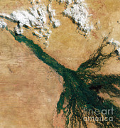 Aerial Photography Framed Prints - Okavango Delta, Satellite Image Framed Print by Science Source