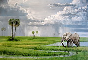 Elephant Art - Okavango elephant by Roger Brown