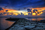 Seawall Framed Prints - Okinawan Sunset Framed Print by Ryan Wyckoff