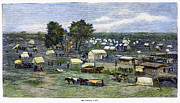 Covered Wagon Posters - Oklahoma City, 1889 Poster by Granger
