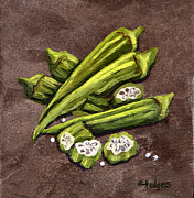 New Orleans Food Paintings - Okra by Elaine Hodges